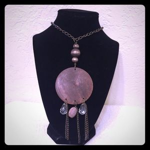 Jewelry - Circular Brown Wooden Pendant w/ Beads Necklace